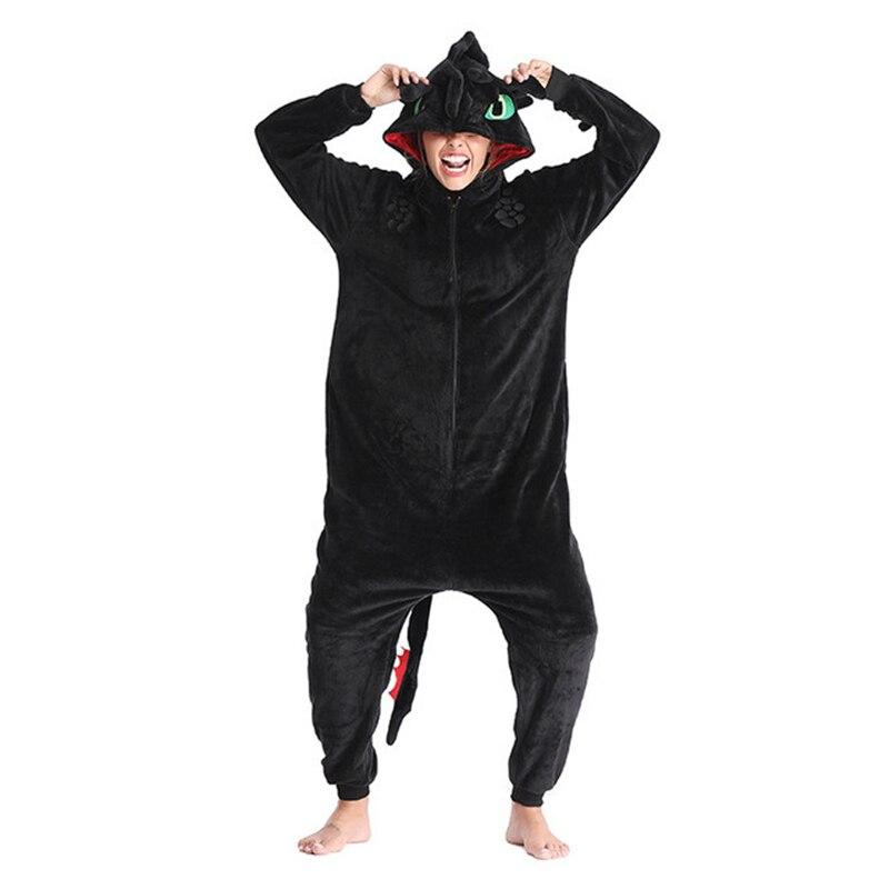 Toothless Dragon Kigurumis Unicorn Black Onesie Adult Unisex Flannel Pajama Anime Train Your Night Fury Sleepwear Home Zipper 2