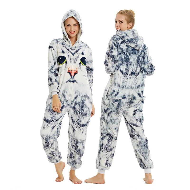 Adults Animal Pajamas Sets Cartoon Sleepwear Unicorn Onesies Stitch Kigurumi Unicornio Women Men Warm Flannel Hooded 3