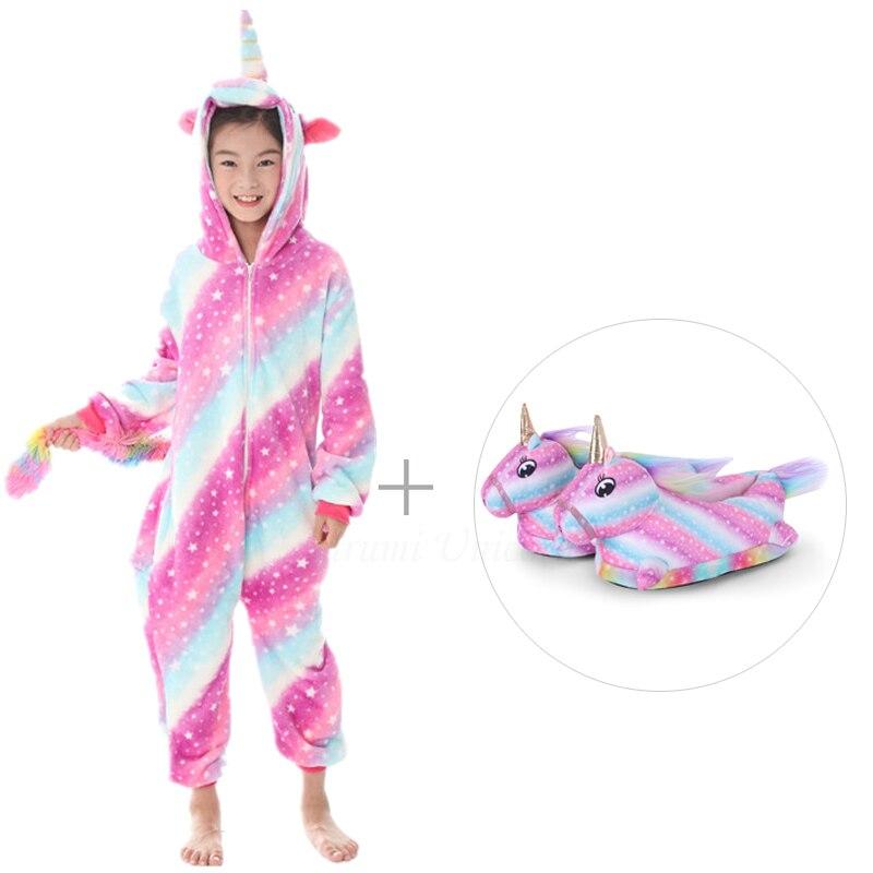 Kigurumi Unicorn Pajamas For Adults Cat Costume Kids Pijamas For Women Anime Animal Onesie Men Sleepwear Flannel Shoes Winter 2