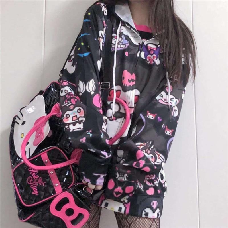 Autumn Thin Hoodies Cute Kpop Women Men Harajuku Sweatshirts Japan Hip Hop Hoodie Pocket Casual Pullovers Tops Kawaii Hoodies 4