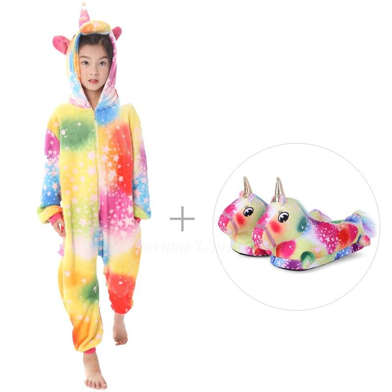 Kigurumi Unicorn Pajamas For Adults Cat Costume Kids Pijamas For Women Anime Animal Onesie Men Sleepwear Flannel Shoes Winter 4