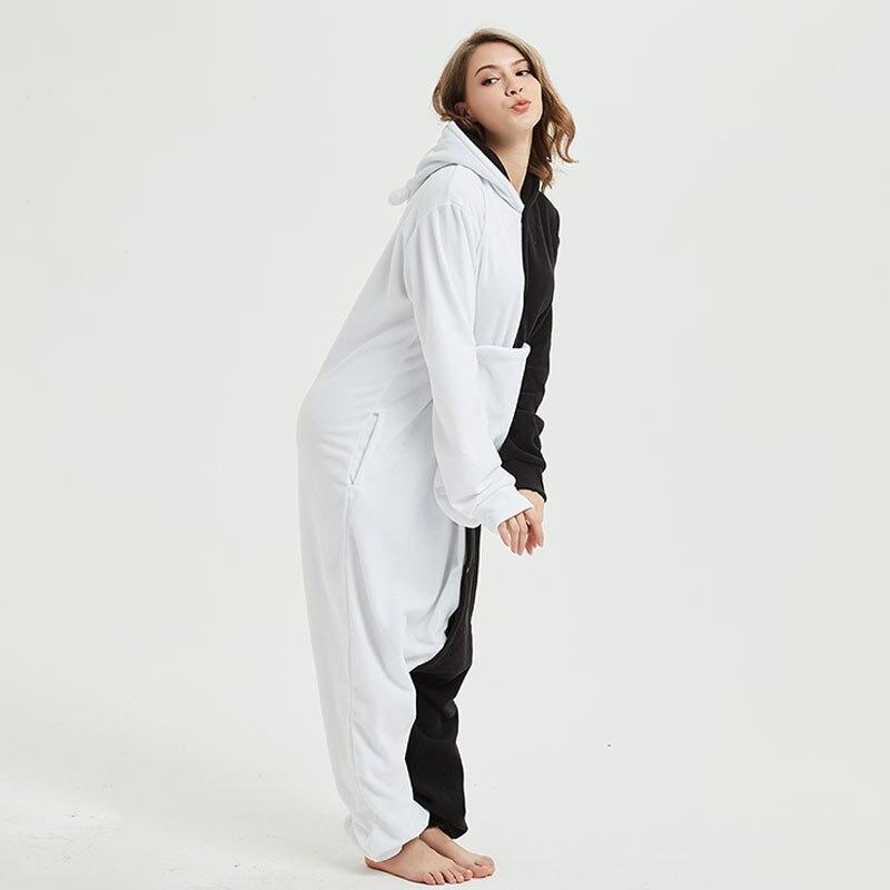 YESKIGU Monokuma Kigurumis Adult Onesie Anime Bear Jumpsuit Pajama Black White Animal Outfit Women Men Party Suit Winter Overall 4