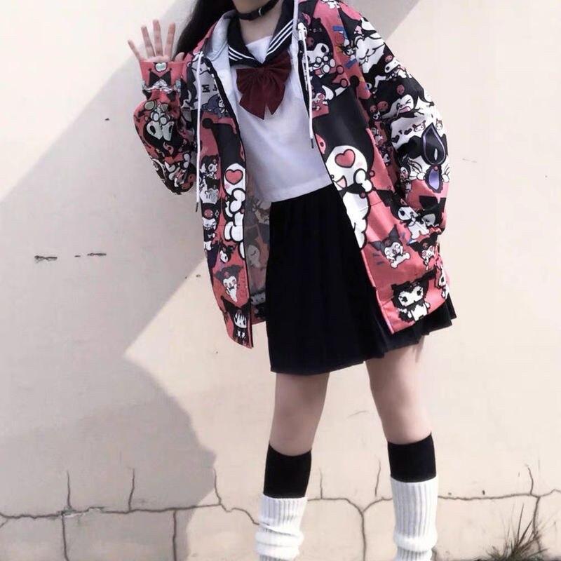 Autumn Thin Hoodies Cute Kpop Women Men Harajuku Sweatshirts Japan Hip Hop Hoodie Pocket Casual Pullovers Tops Kawaii Hoodies 5