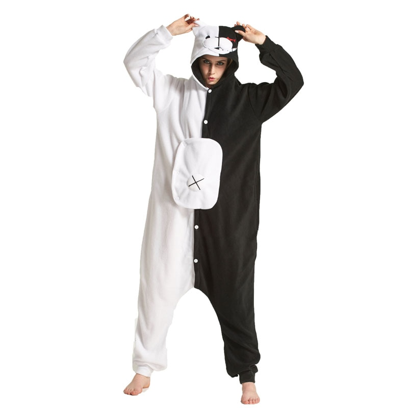 YESKIGU Monokuma Kigurumis Adult Onesie Anime Bear Jumpsuit Pajama Black White Animal Outfit Women Men Party Suit Winter Overall 1