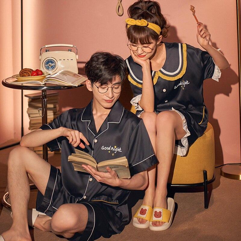 IceSilk Summer Couples Pajamas Sets Women Men Sleepwear Pyjamas SilkCloth PreppyStyleNightgowns Homewear Lovers Leisurewear 2