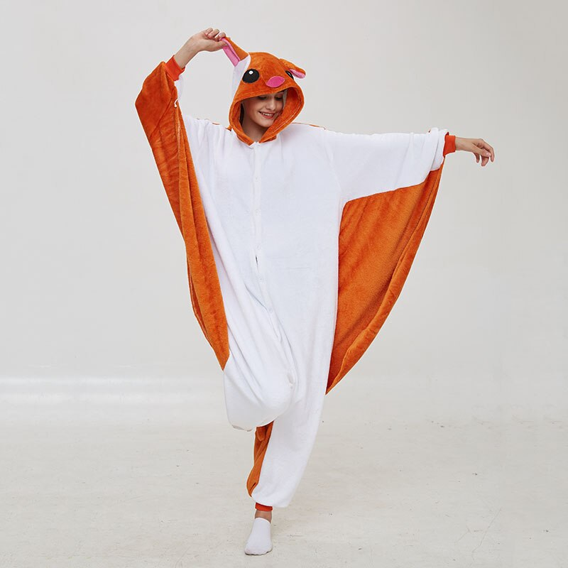 Kigurumis Women Pajama Animal Flying Rat Onepiece Men Adult Flannel Winter Sleepwear Wings Cosplay Funny Homewear Costume Appare 3