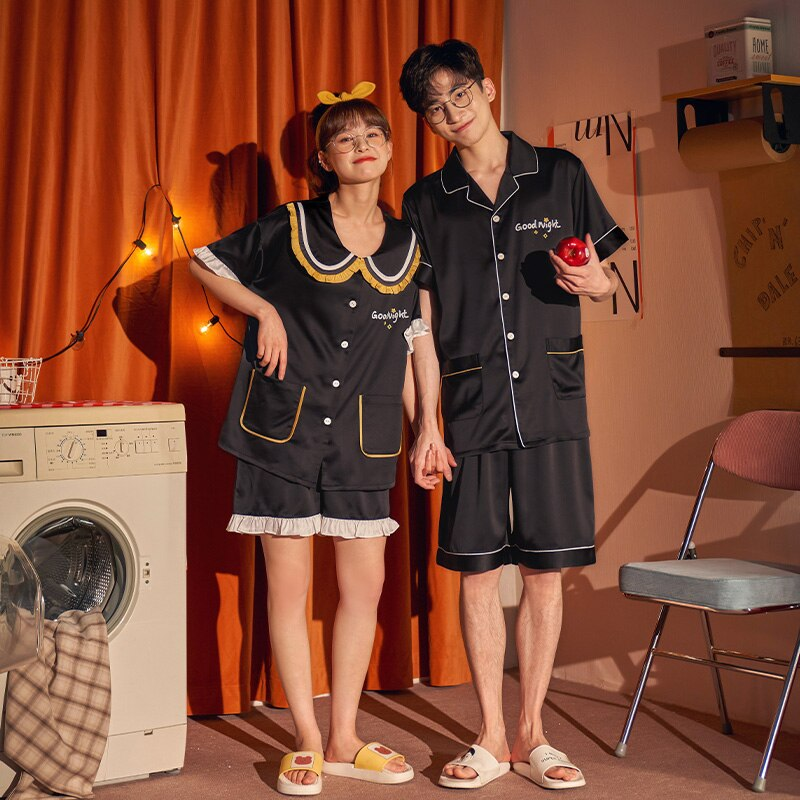 IceSilk Summer Couples Pajamas Sets Women Men Sleepwear Pyjamas SilkCloth PreppyStyleNightgowns Homewear Lovers Leisurewear 5