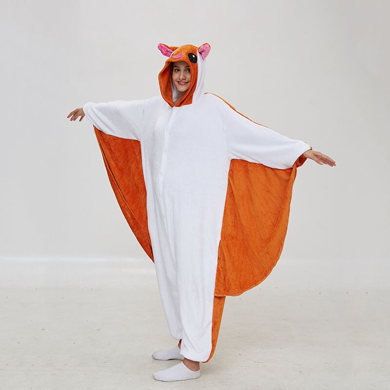 Kigurumis Women Pajama Animal Flying Rat Onepiece Men Adult Flannel Winter Sleepwear Wings Cosplay Funny Homewear Costume Appare 4