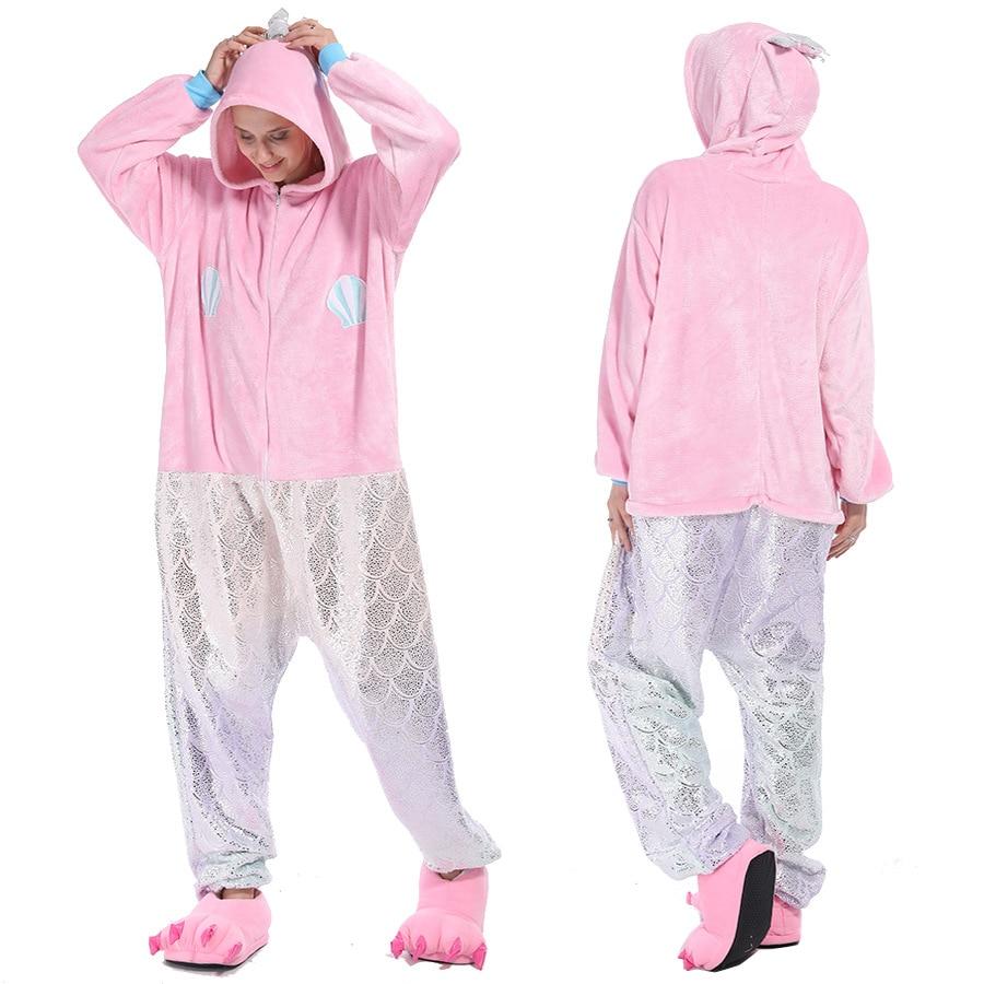 Kigurumis Animal Women Pajama Suit Mermaid Flannel Sleepwear Homewear Flannel Adult One Piece Soft Cartoon Party Costume 1