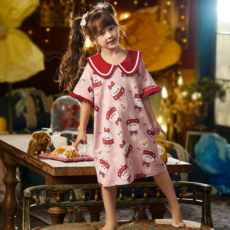 Summer Children Nightdress Sleepwear Soft LeisureWear Cartoon Cute Chick Printing Girls Nightgown Dressing Gown Dress Child 1