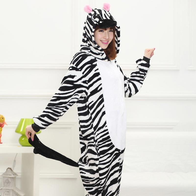 Animal Kigurumis Zebra Onesie Pajama Women Girl Home Jumpsuit Funny Winter Warm Sleepwear Halloween Party performance Outfit 3