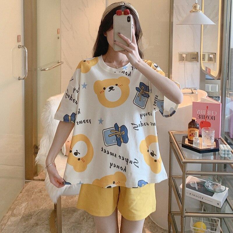 Women Pajamas Sets Cartoon Cotton Bear Print Pattern Pajamas ShortSleeve Homewear Sleepwear Loose Pijamas Female 5