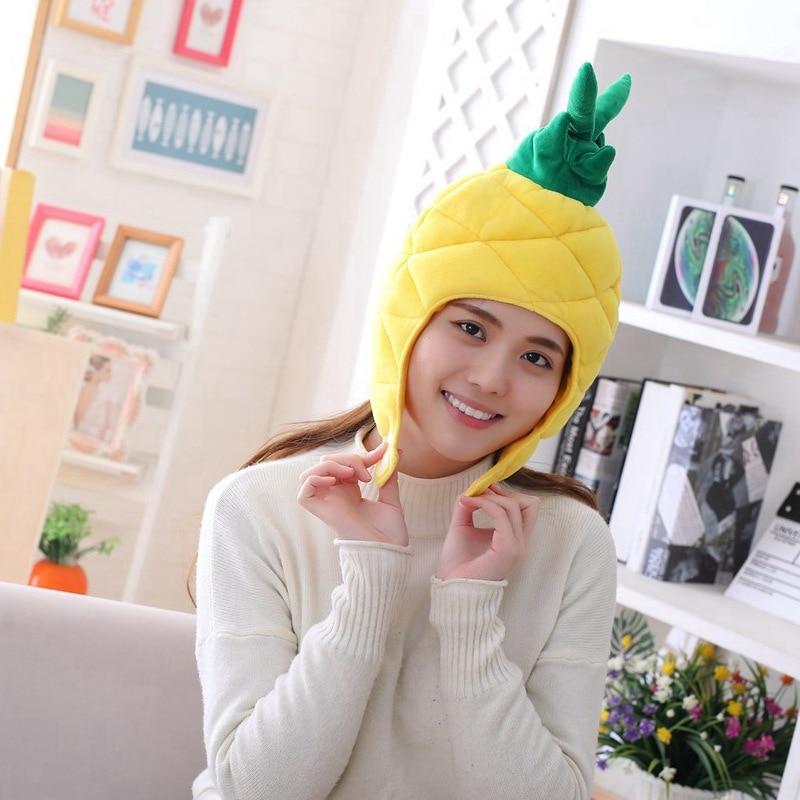 Cartoon Carrot Pineapple Hat Cosplay Funny Hats Kawaii Headgear Headwear Women Men Adult Halloween Festival Party Warm Caps 1