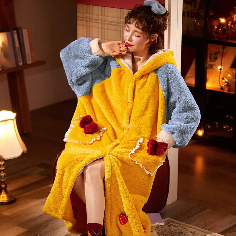 Thicken Warm Women Nightgown Cute Cartoon Cat Hooded Bath Robe Nightdress Kitty Sleepwear Home wear Pajamas Nightwear 4