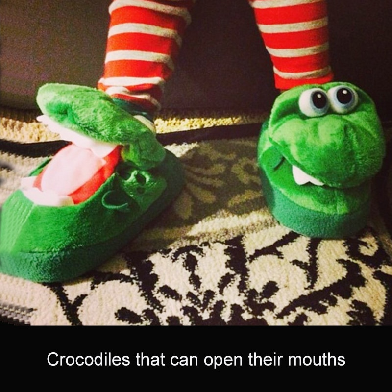 Winter Plush Cotton Slippers Women Men Anime Crocodile Open Mouth Cosplay Cartoon SlippersHousehold Shoes Funny  Can Dance 1