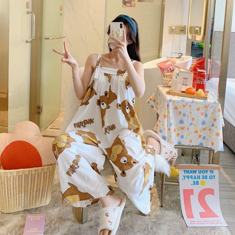 Summer Pajama Women jumpsuits One-piece Pyjamas Sleepwear Cartoon Cute Bear Printing Pajamas Girl CasualWear Home Korean Night 3