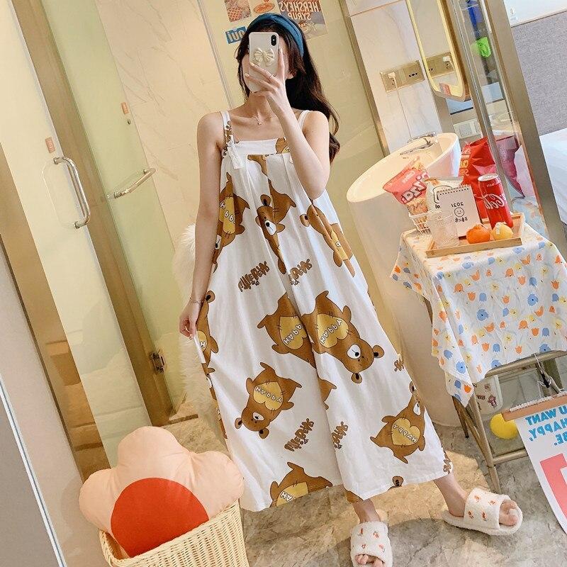 Summer Pajama Women jumpsuits One-piece Pyjamas Sleepwear Cartoon Cute Bear Printing Pajamas Girl CasualWear Home Korean Night 2