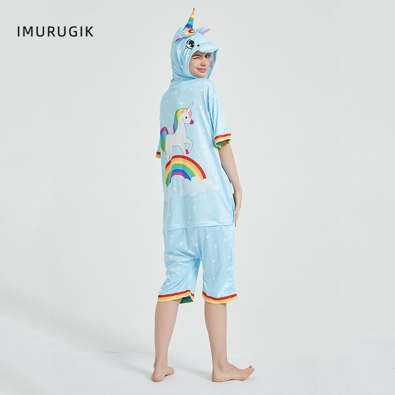 Rainbow Unicorn Kigurumis Women Onesie Cosplay Short Sleeve Animal Jumpsuits Pegasus Girl Pajama Funny Cute HomeWear Costume 5