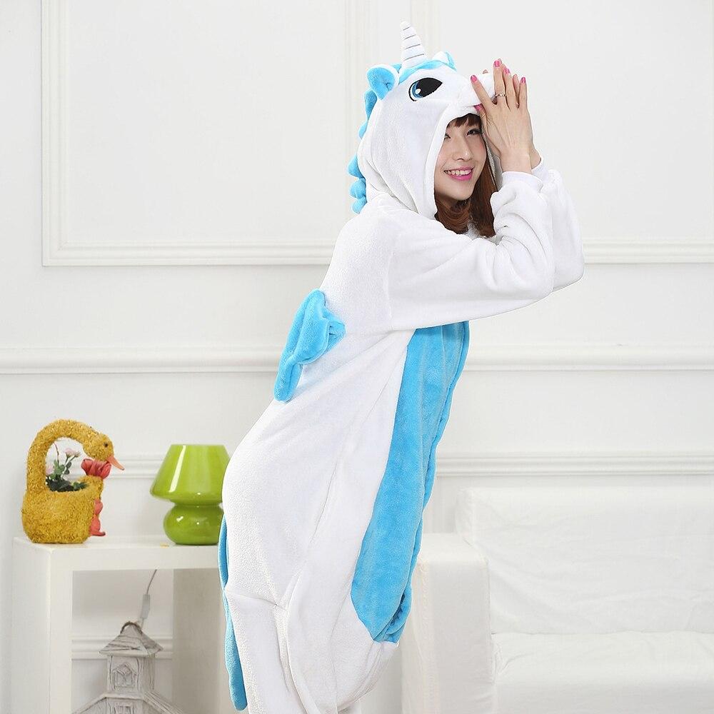 Blue White Unicorn Kigurumis Unisex Pajama Women Girl Adult Sleepwear Flannel Warm Home Jumpsuit Animal Funny Cute Onepiece Suit 3