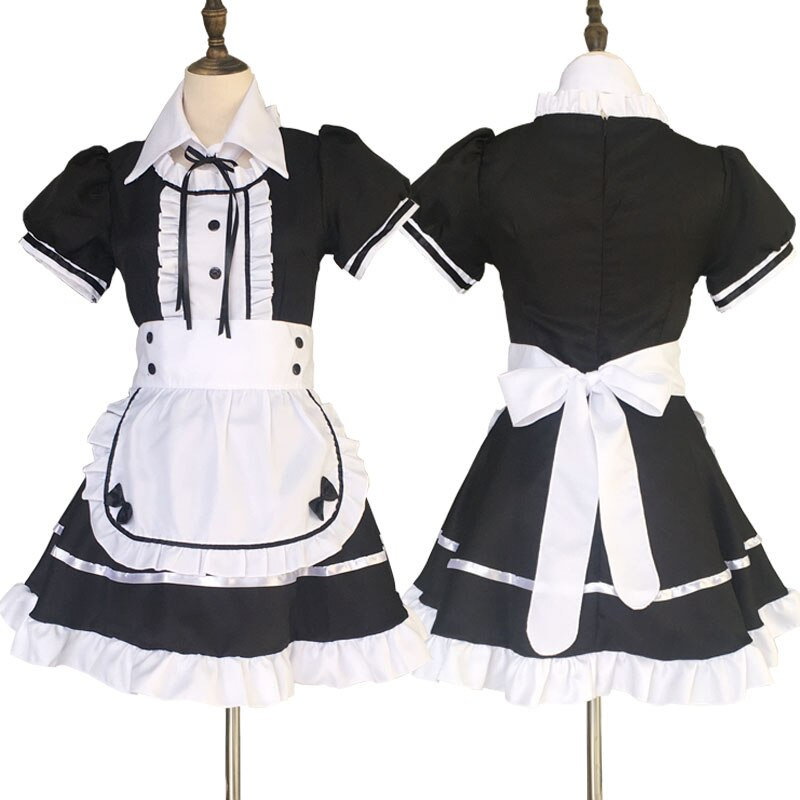 Maid Costume Japanese Anime Cosplay Sweet Classic Lolita Fancy Apron Maid Dress with Socks Gloves Set 6