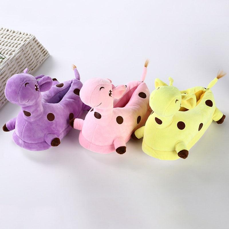 Cartoon Warm Indoor Kid Shoes Kigurumis Cute Giraffe Girl Shoes Winter Plush Slippers Cosplay Household Shoes Children Supplies 1