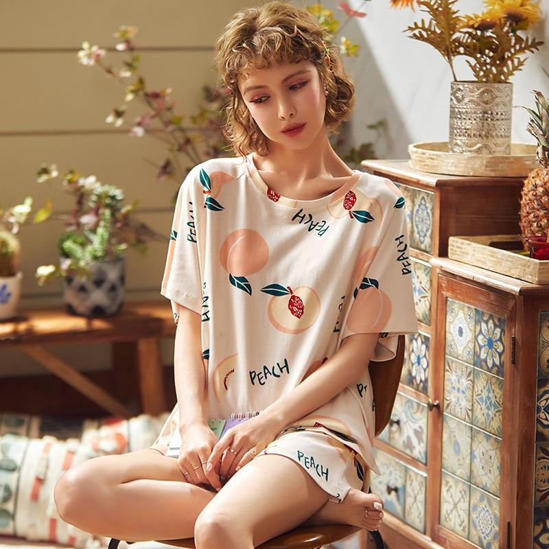 Cartoon Short Sleeve Pajamas Women Cotton Pyjamas women leisure wear Pajama set printing   Juicy peach  Pajamas for Girl 1