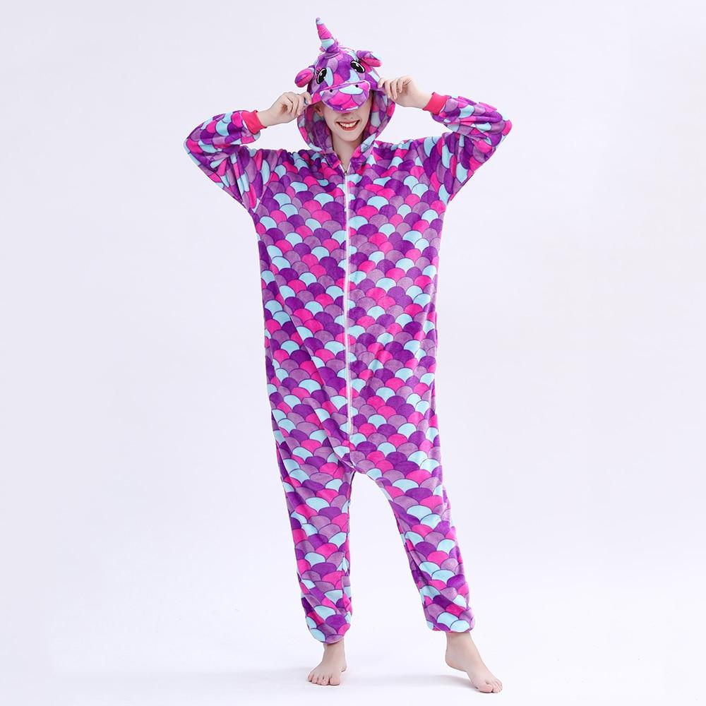 Kigurumis Animal Adult Sleepwear Onesie Women Pajama Mermaid Girl Winter Warm Pegasus Onesies Festival Party Outfit Overall 1