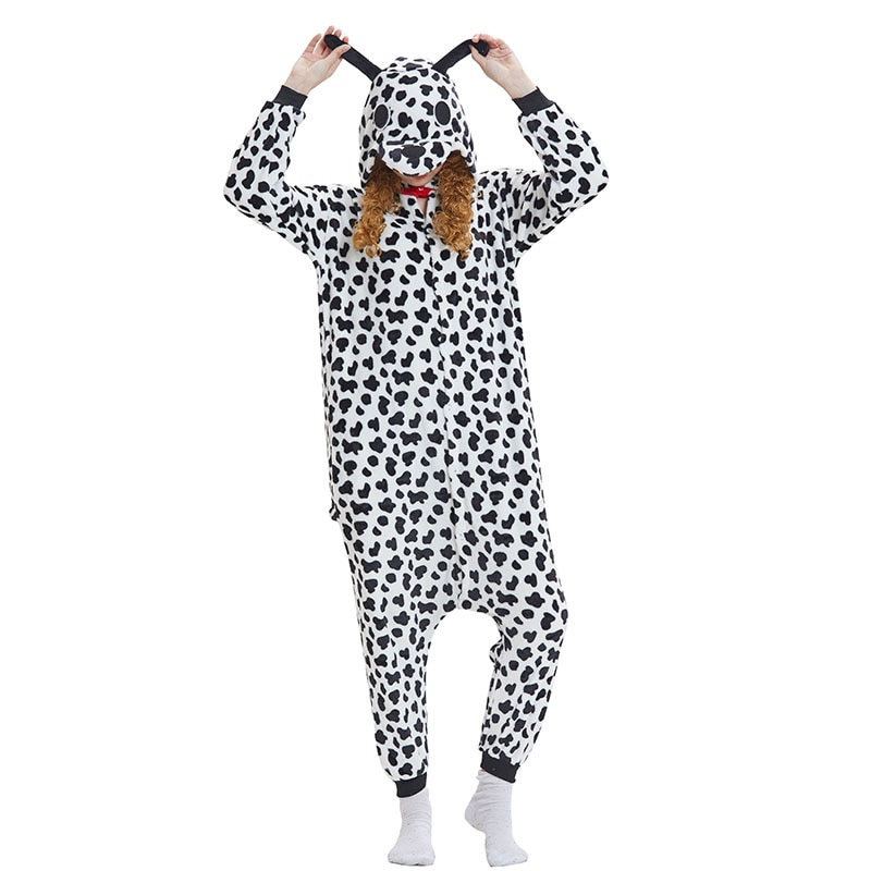 Dalmatians Animal Women Pajama Suit Onesie Kigurumis Homewear Sleepwear Flannel Soft One Piece Unisex Pijamas Party Costume 1