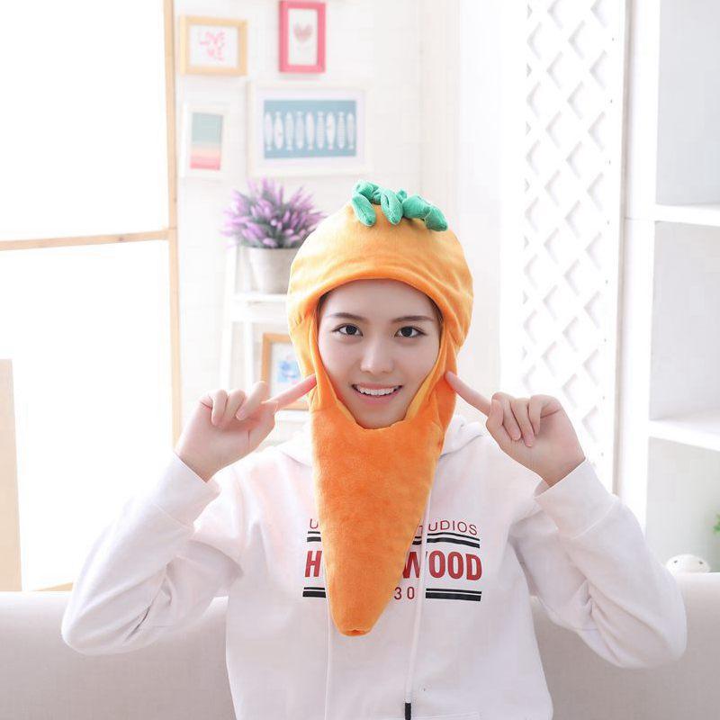 Cartoon Carrot Pineapple Hat Cosplay Funny Hats Kawaii Headgear Headwear Women Men Adult Halloween Festival Party Warm Caps 4