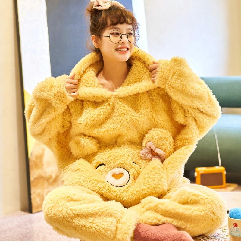 Adult Pajamas Set Women Winter Thicken Sleepwear Homewear  Cartoon Bear Korean Pyjamas Funny SoftWarm Pijamas Suit 1