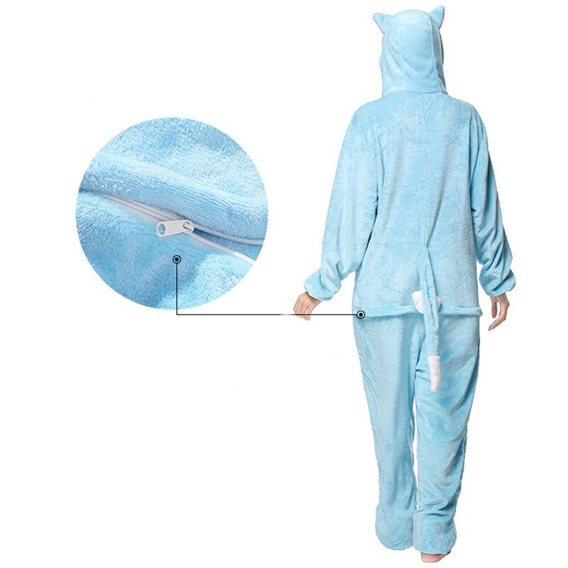 Kigurumis Animal Blue Cat Women Pajamas Onesies Flannel One Piece Homewear Clothing Sleepwear Pajama Costume 3