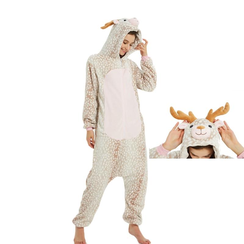Milu Deer Animal Kigurumis Women Pajama Suit One Piece Adult Flannel Soft Pajamas Sleepwear Homewear Festival Party Costume 1