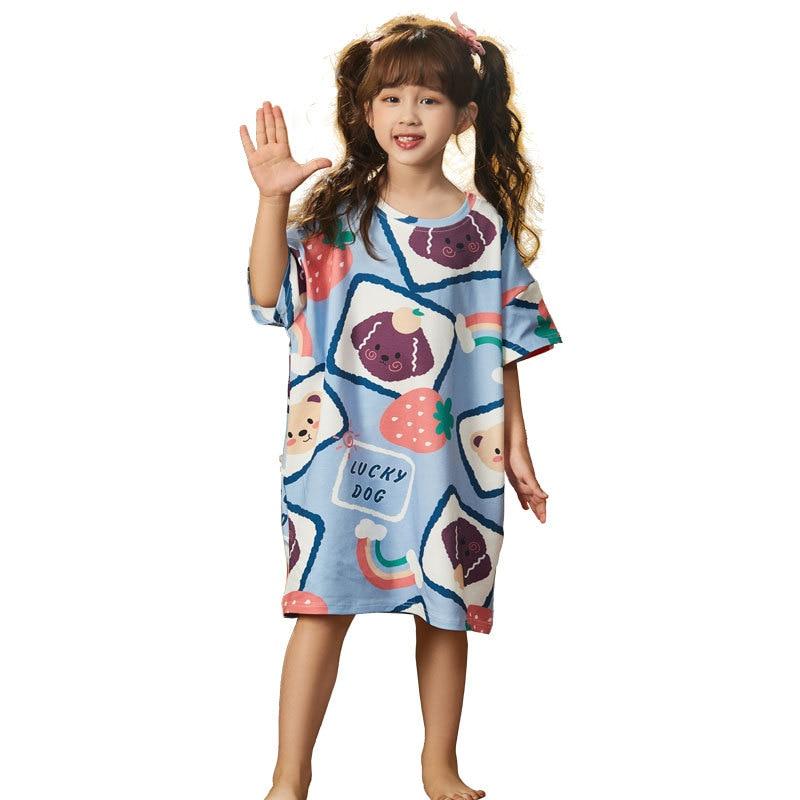 Summer Children Nightdress Sleepwear Cartoon Cute Bear Soft LeisureWear Girls Nightgown Dressing Gown Dress Child Loose Dress 5