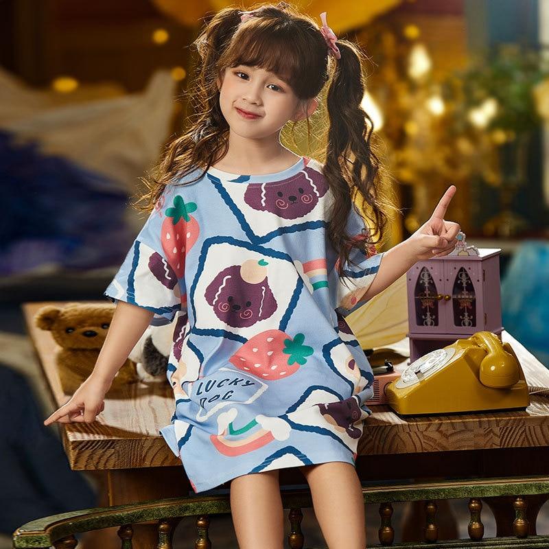 Summer Children Nightdress Sleepwear Cartoon Cute Bear Soft LeisureWear Girls Nightgown Dressing Gown Dress Child Loose Dress 1