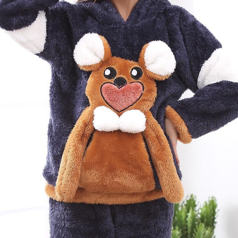 Couples Pajamas Set Hoodie Winter Flannel Pyjamas Women Men Thicken Sleepwear Animal Mouse Warm Festival Pijama Homewear 2PCS 3