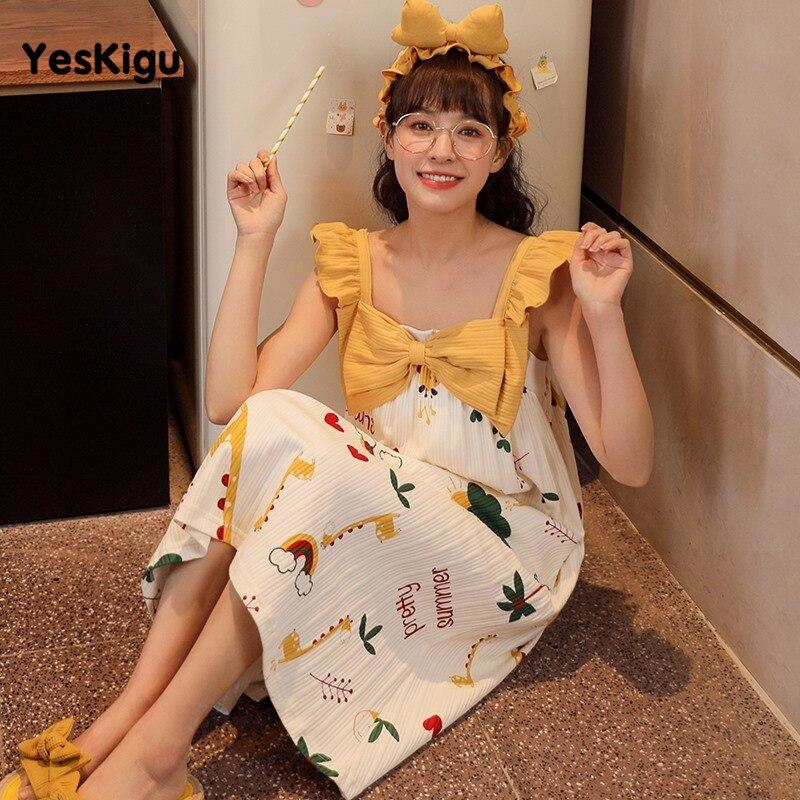 Summer Women Nightdress Girls Sleepwear Nuisette femme Cartoon Giraffe Night Dress Women Lovely SweetLeisureWear Night dress 3
