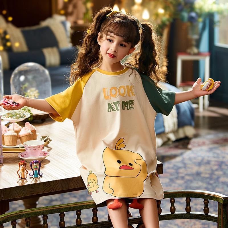 Summer Children Nightdress Sleepwear Dress Cartoon Cute Chick Printing Girls Nightgown Dressing Gown Child Loose Soft Leisure 2
