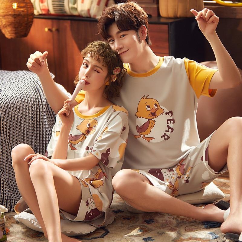 Couple Pajamas Summer Sleepwear Cotton Duck Cartoon Korean Loose Pajamas Women Mem Homewear Lovers Nightgowns Clothing Plus Size 1