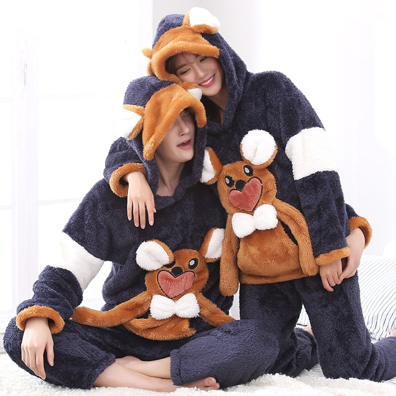 Couples Pajamas Set Hoodie Winter Flannel Pyjamas Women Men Thicken Sleepwear Animal Mouse Warm Festival Pijama Homewear 2PCS 1