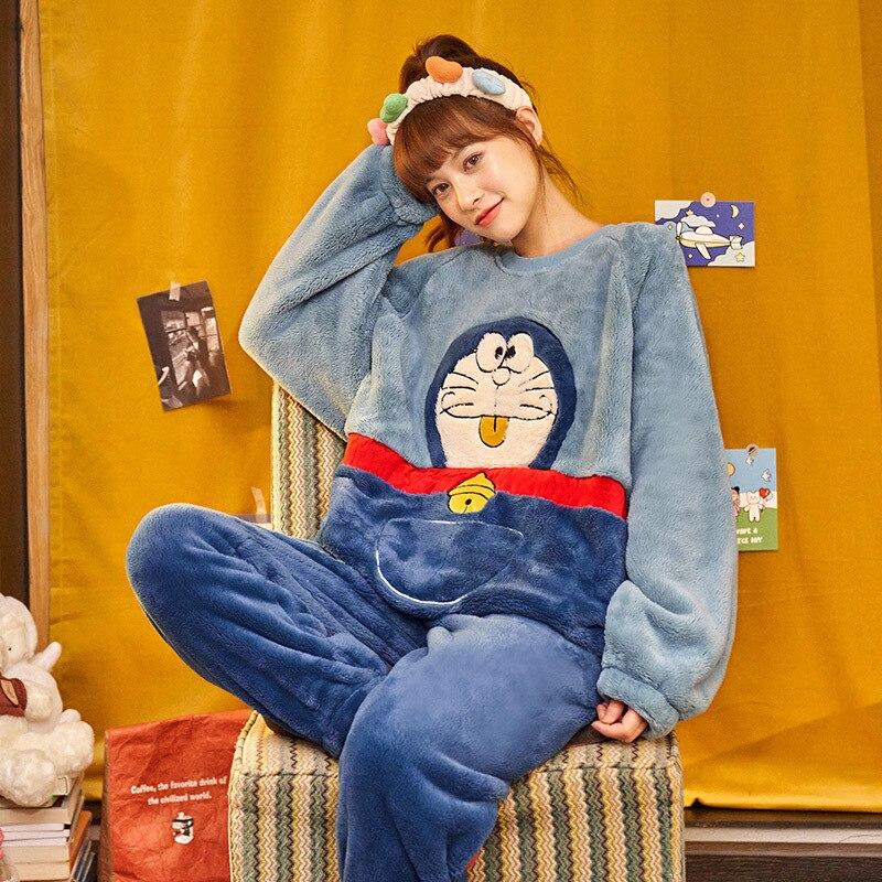 Couples pyjamas Set Cartoon Doraemon Cat Winter Thicken pyjamas women Sleepwear Homewear CoralFleece Lover pijamas Plus size 3