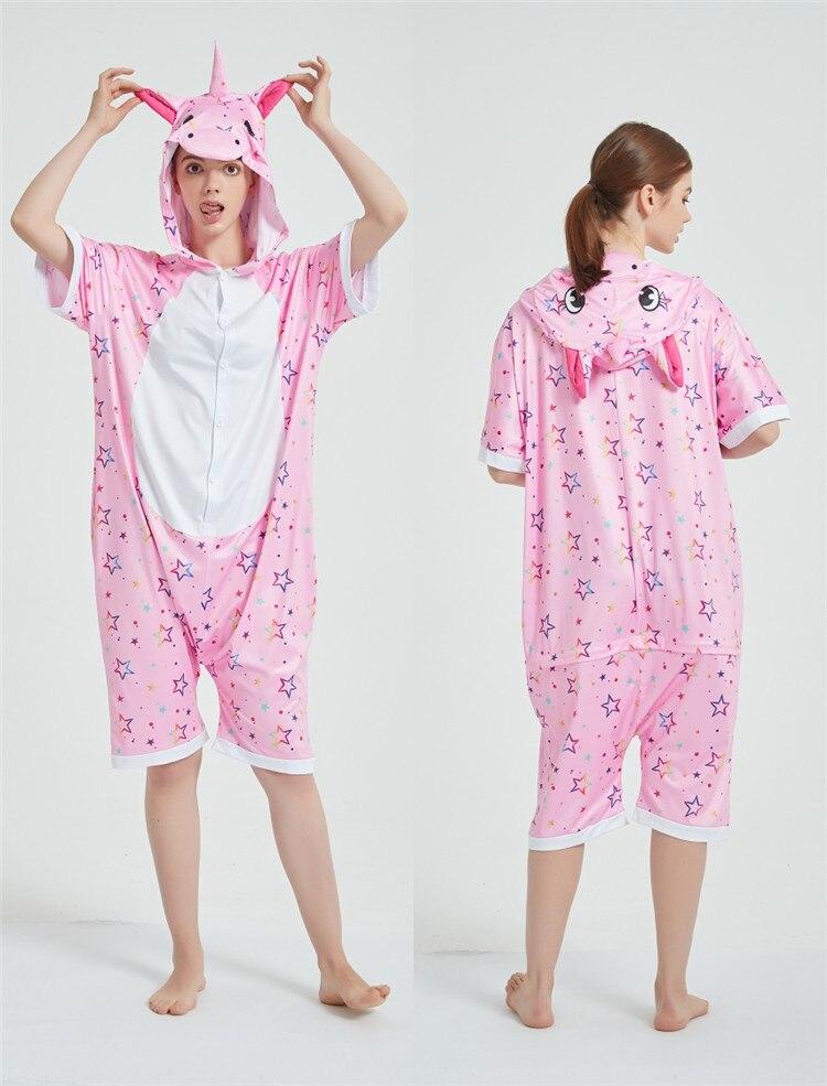 Rainbow Unicorn Kigurumis Women Onesie Cosplay Short Sleeve Animal Jumpsuits Pegasus Girl Pajama Funny Cute HomeWear Costume 12