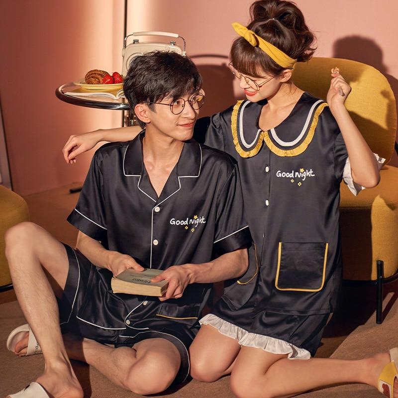 IceSilk Summer Couples Pajamas Sets Women Men Sleepwear Pyjamas SilkCloth PreppyStyleNightgowns Homewear Lovers Leisurewear 4