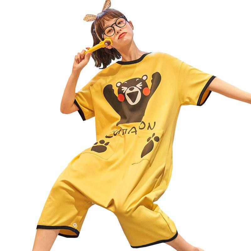 Summer Couple Pajamas Sleepwear Jumpsuit Cotton Cartoon Kumamoto Loose Pyjamas Women Men Cute Homewear Lovers Nightgowns Pajama 5
