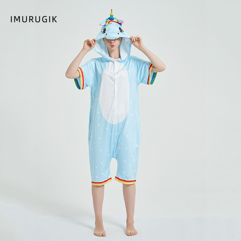 Rainbow Unicorn Kigurumis Women Onesie Cosplay Short Sleeve Animal Jumpsuits Pegasus Girl Pajama Funny Cute HomeWear Costume 3