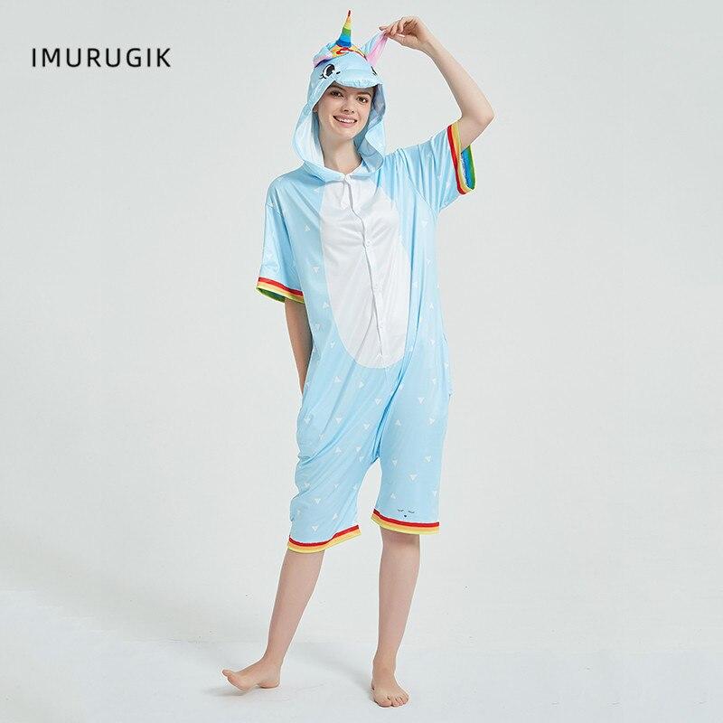 Rainbow Unicorn Kigurumis Women Onesie Cosplay Short Sleeve Animal Jumpsuits Pegasus Girl Pajama Funny Cute HomeWear Costume 4