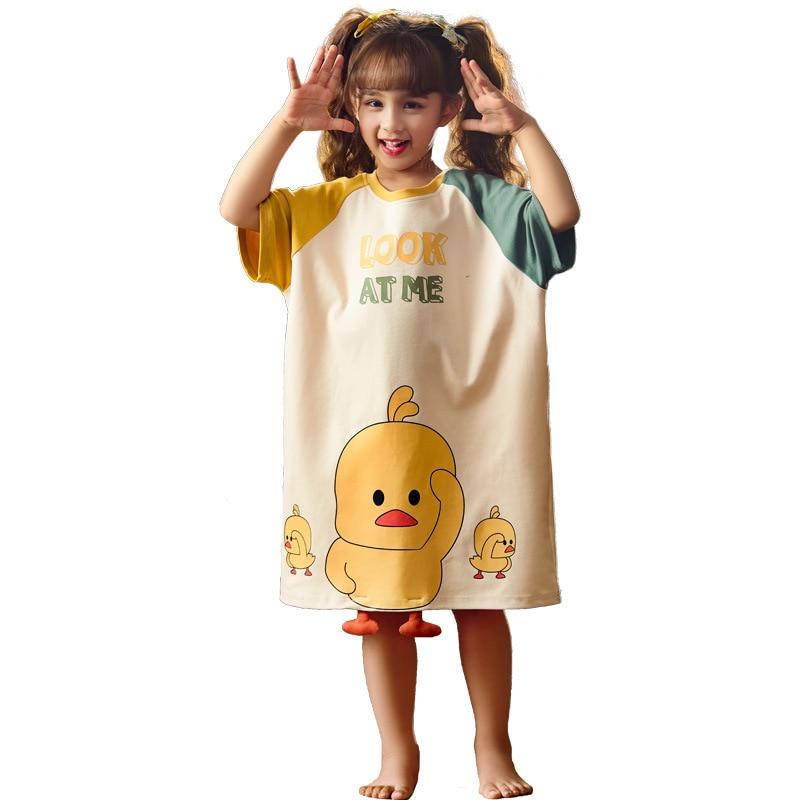 Summer Children Nightdress Sleepwear Dress Cartoon Cute Chick Printing Girls Nightgown Dressing Gown Child Loose Soft Leisure 5