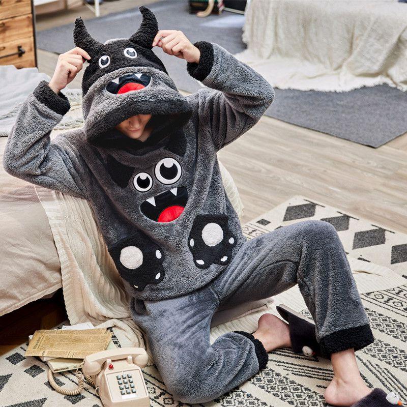 Couples Pajamas Sets Women Men Winter Thicken Pyjamas Sleepwear Cartoon Cow Dog Korean Lovers Homewear SoftWarm Pijama Hoodies 1
