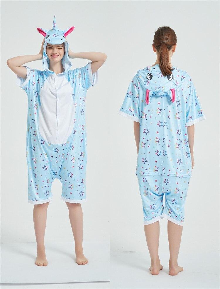 Rainbow Unicorn Kigurumis Women Onesie Cosplay Short Sleeve Animal Jumpsuits Pegasus Girl Pajama Funny Cute HomeWear Costume 14