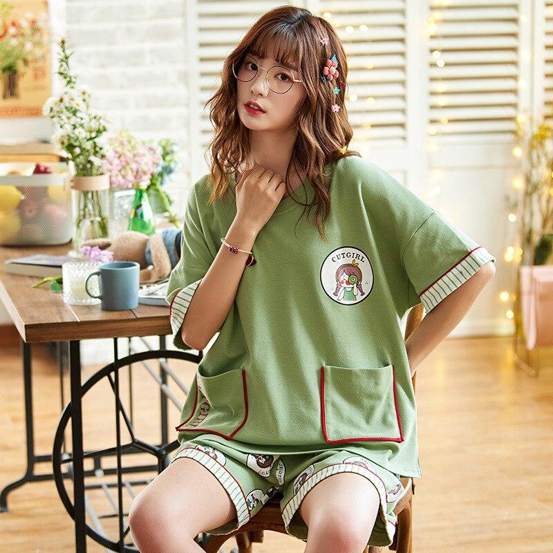 2PCS Women Pijama Casual Nightclothes Cotton Cartoon  Pyjamas Korean Girl Sleepwear Home wear Pajama Shorts Femme Plus Size 1