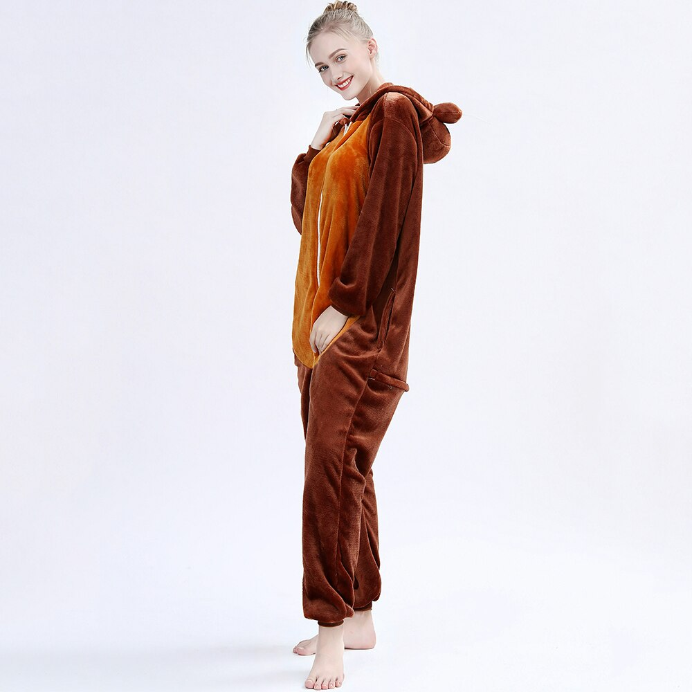 New Animals Adult Kigurumis Onesie Sleepwear Cartoon Walrus Onesies Flannel Nightgown Women Pajamas Jumpsuit Homewear Costume 4